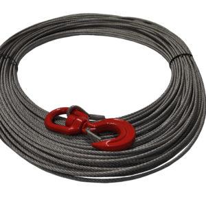 Ocelové lano pro navijak DOCMA, Forest VF-310022, 5 mm x 80 m a otočný hák s pojistkou (VF150 - 5 )