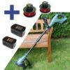 Sada-akumulátorová sekačka trávy CROSSFER 1.3Ah Li-ion, včetně 2x baterie, 2x cívka, 1x nabíječka